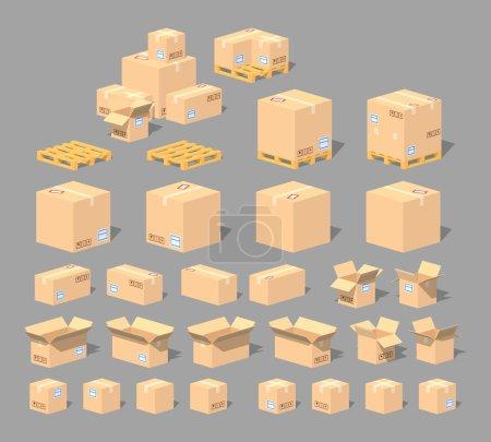 Illustration pour Cube World. Boîtes en carton 3D lowpoly isométrique. L'ensemble des objets isolés sur le fond gris et représentés de différents côtés - image libre de droit