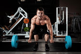 Muscular Men Lifting Deadlift