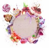 """Постер, картина, фотообои """"круглая рамка с акварелью десерты."""""""