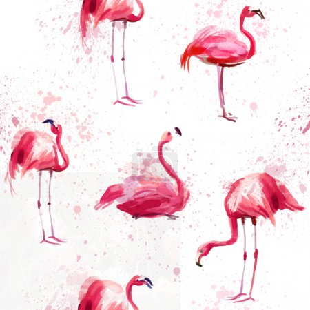 Seamless watercolor pattern with flamingo