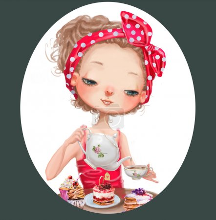 Photo for Cute cartoon girl with tea pot and cup - Royalty Free Image