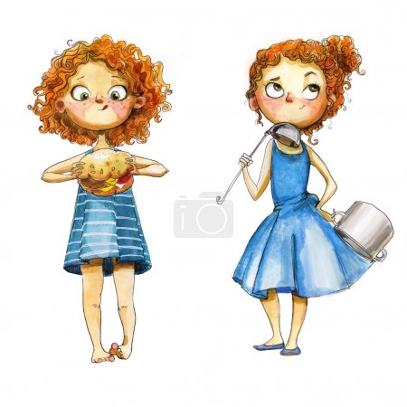 Photo for Cute watercolor girls,illustration - Royalty Free Image