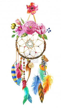 Photo for Watercolor Dream catcher illustration - Royalty Free Image