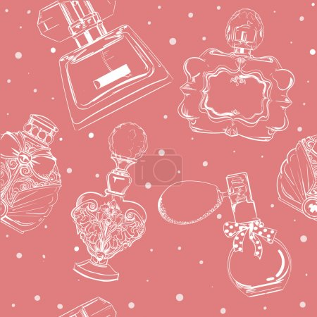 Illustration for Seamless pattern with different bottles of  perfumes - Royalty Free Image