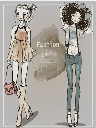 cute cartoon hipster girls