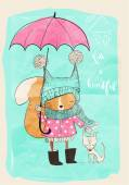 cute girl with dog and umbrella