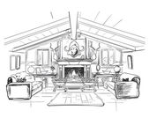 Home interior with sofa and fireplace - vector illustration
