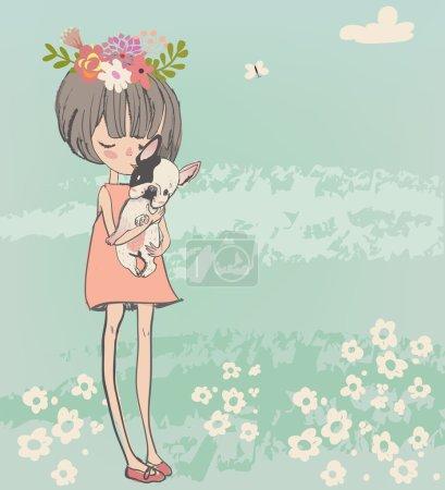 Illustration pour Mignon dessin animé petite fille avec français bulldog - image libre de droit