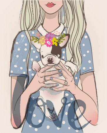 Illustration for Cute cartoon girl with french bulldog on her hands - Royalty Free Image