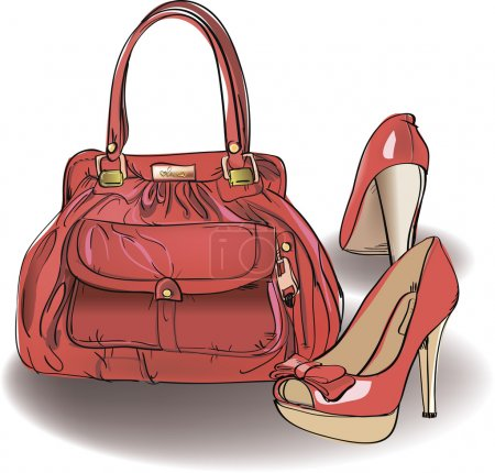 Red bag and shoes.