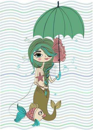cute mermaid with umbrella