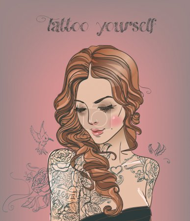 Illustration pour Belle femme avec tatouage - image libre de droit