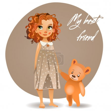 Illustration for Cute girl with teddy bear - Royalty Free Image