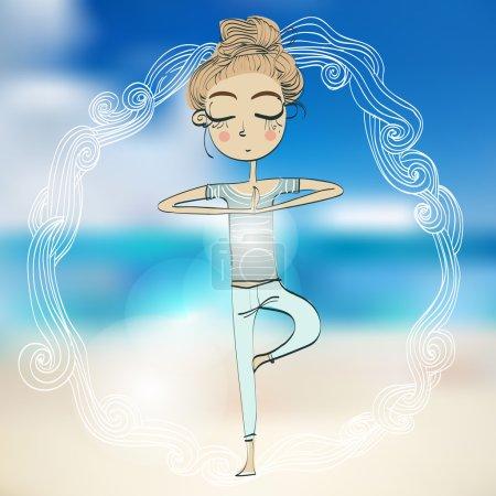 Illustration pour Fille mignonne dans la pose de yoga - image libre de droit