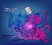 pink octopus with cylinder hat
