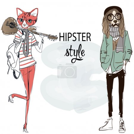 dog and cat hipsters characters