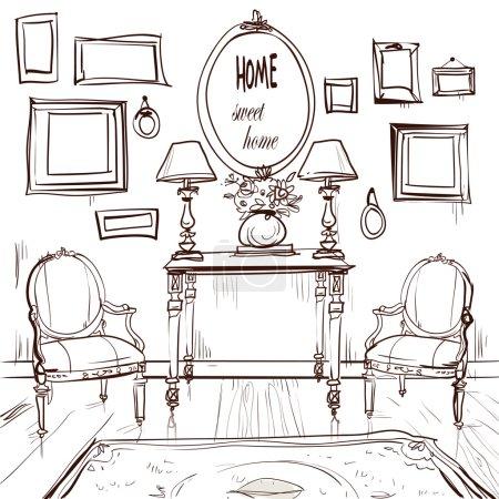 Photo pour Intérieur de la maison avec fauteuils. Illustration vectorielle - image libre de droit