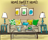 Home interior with sofa and coffee table - vector illustration