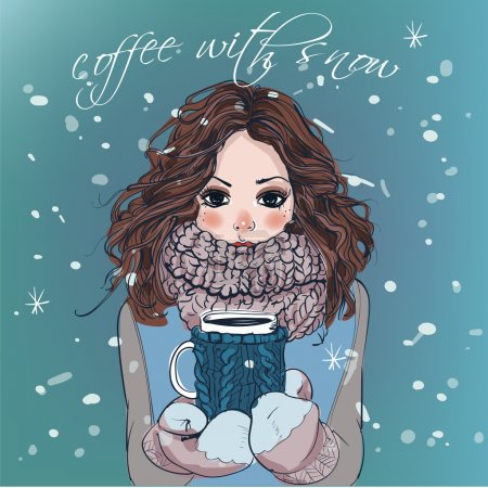 zima ładny dziewczyna z filiżanki kawy