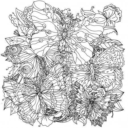 Photo for Orient floral black and white ornament with openwork butterflies could be use for coloring book in zentangle style - Royalty Free Image