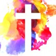 Colorful abstract background with cross in waterco...