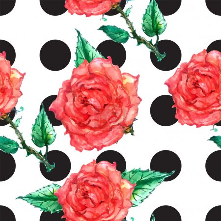 Illustration for Polka dot ornament with roses in old style - Royalty Free Image