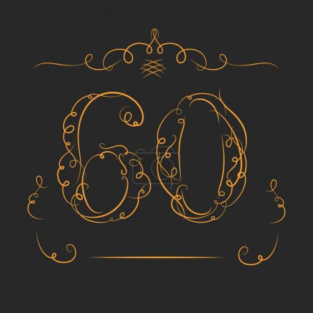 Illustration for Anniversary 60th signs  in calligraphy  style. Template of anniversary, birthday and jubilee emblems  with number. - Royalty Free Image