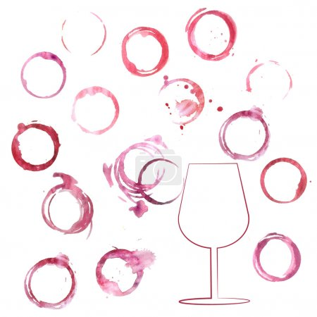 Illustration for Set traces glass draw pour wine splashes and spot print. - Royalty Free Image