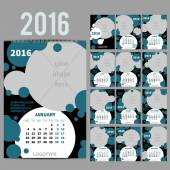 Geometrical Wall Monthly Calendar for 2016 Year Vector Design Print Template with Place for photo  A3 A2 or bigger Week Starts Monday Portrait Orientation Set of 12 Months and Cover 13 pages