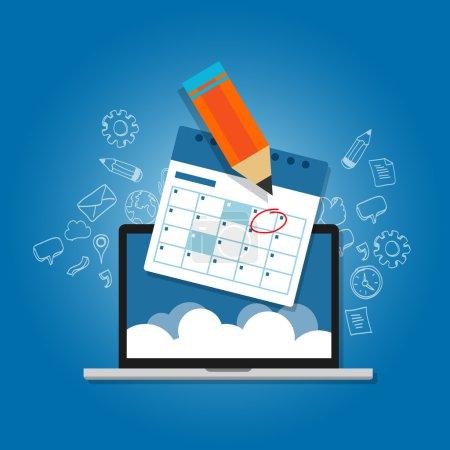 Illustration pour Marque cercle votre agenda calendrier en ligne cloud planification ordinateur portable vecteur - image libre de droit