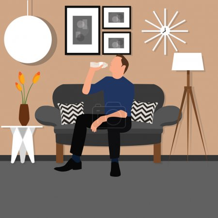 man people drinking water from bottle sitting chair sofa living room interior