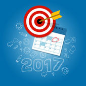 new years resolutions illustration vector flat target calendar