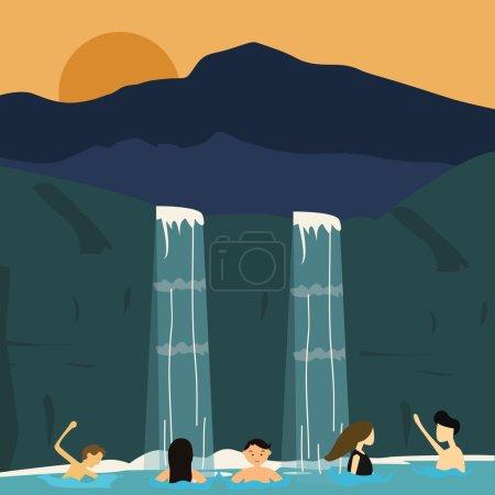 peuples nagent dans la cascade garçons et filles illustration