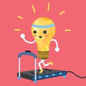 testing ideas light bulb having exercise in treadmill make it strong