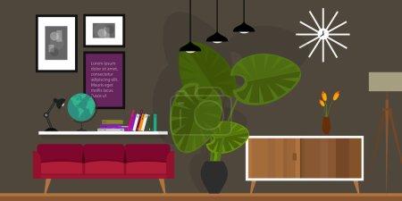 Illustration for Living room home interior in flat vector illustration vintage retro - Royalty Free Image