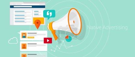 Illustration for Native social media content advertising marketing vector illustration - Royalty Free Image