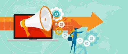Illustration pour Marketing en ligne des relations publiques de la bisoness de direction équipe - image libre de droit