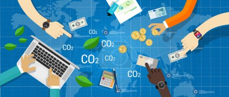 Illustration for Carbon emission co2 trading business bargain green economy - Royalty Free Image