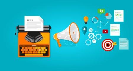 Illustration for Content marketing seo optimization online blog internet - Royalty Free Image