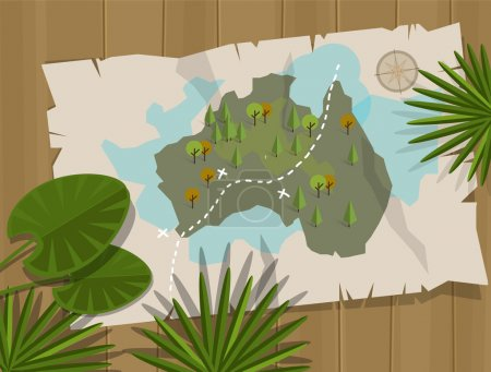 Illustration for Jungle map australia cartoon adventure - Royalty Free Image