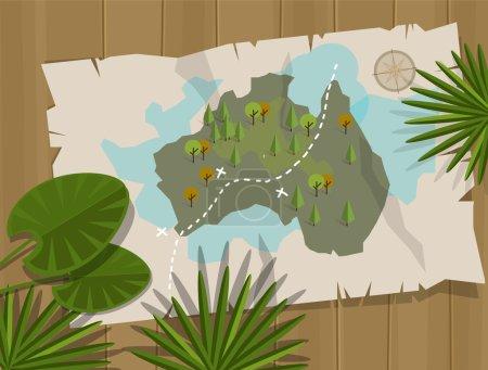 Illustration pour Jungle carte australie cartoon aventure - image libre de droit