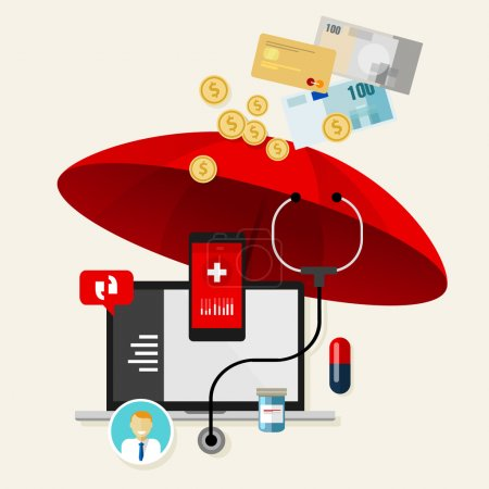 Illustration for Medical health insurance protection obama care charge - Royalty Free Image
