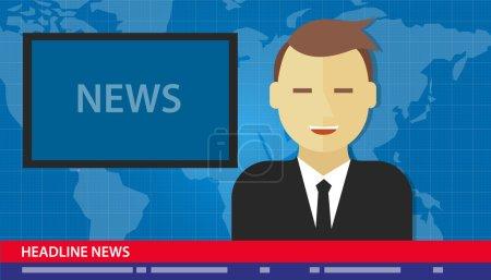 Illustration pour Titre de nouvelles ancre homme rupture Multimedia tv - image libre de droit