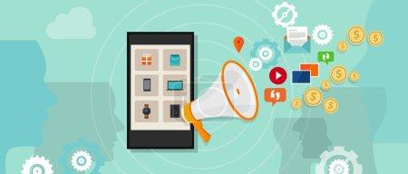 Illustration pour Promotion payée publicité en ligne payer par clic marketing numérique - image libre de droit