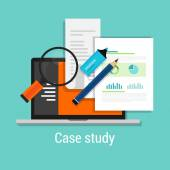 case study studies icon flat laptop magnifier