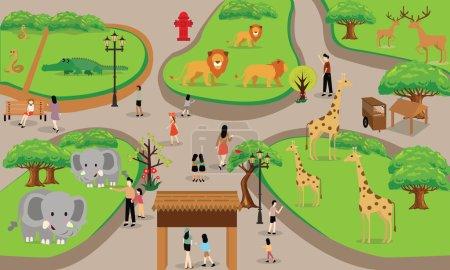 Illustration pour Zoo bande dessinée gens famille avec animaux scène vectoriel illustration arrière-plan de haut paysage dessin - image libre de droit