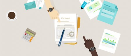 Illustration for Sign paper deal contract agreement hand pen on desk two people flat business illustration vector top - Royalty Free Image