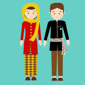 traditional clothes betawi jakarta indonesia ethnic cloth vector couple pakaian adat