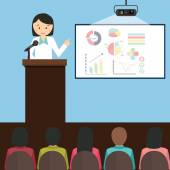 woman girl female give presentation presenting chart report speech in front of audience vector illustration