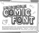 Creative black and white high detail comic font Alphabet in style of comics pop art Multilayer monochrome letters and figures for illustrations websites posters comics banners